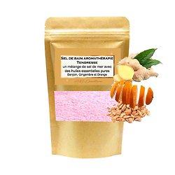 Sel de bain Tendresse mélange huiles benjoin, gingembre, orange