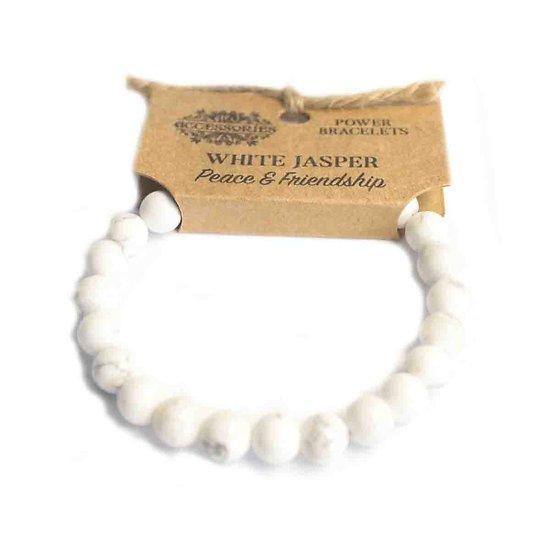 Bracelet de Puissance Jaspe Blanc Paix et Amitié pierres 8mm