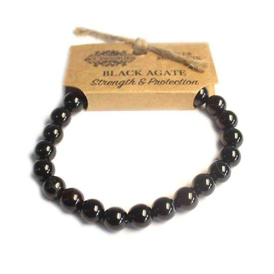 Bracelet Puissance Agate Noire Force et Protection pierres 8mm