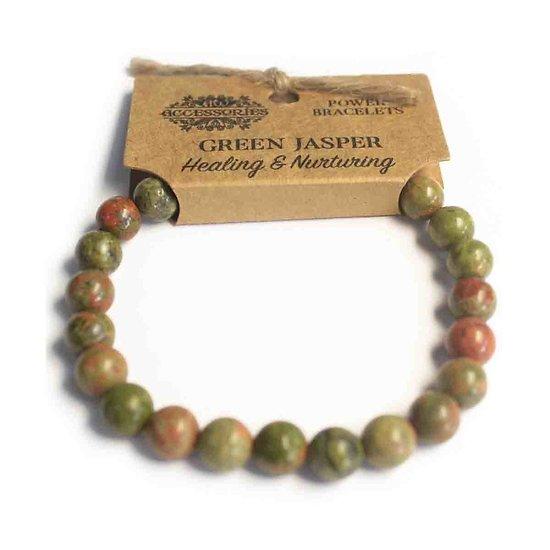 Bracelet de Puissance Jaspe Vert Guérison et Soins avec pierres de 8mm