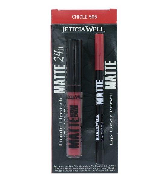 Rouge à lèvres liquide Mat et crayon lèvres Pack Chicle - Leticia Well