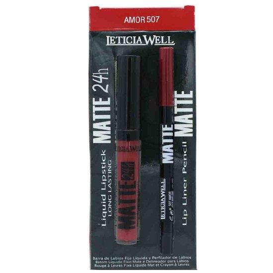 Rouge à lèvres liquide Mat Amor 507 et crayon lèvres pack Leticia Well