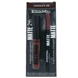 Rouge à lèvres liquide Mat Chocolate 508 et crayon lèvres Leticia Well