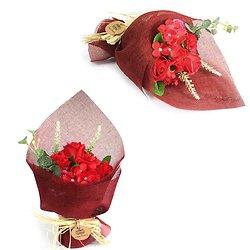 Bouquet de fleurs en savon Rouge avec roses et oeillets bain