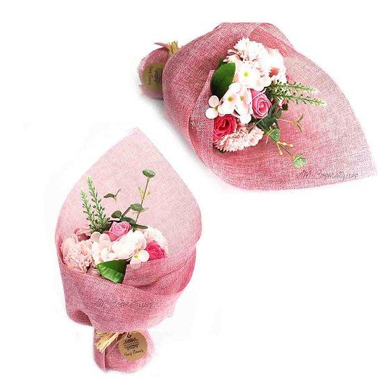 Bouquet de fleurs en savon Rose avec oeillets et hortensias bain