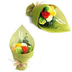 Bouquet de fleurs en savon Jaune avec roses et oeillets pour bain