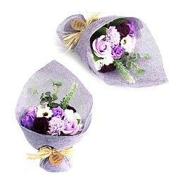 Bouquet de fleurs en savon Violet avec roses et hortensias bain