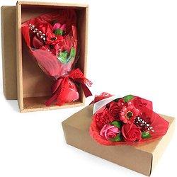 Bouquet de fleurs en savon Rouge dans sa boite bain romantique