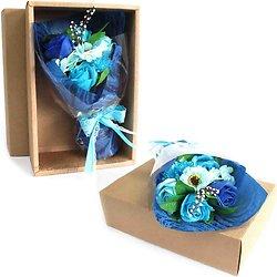 Bouquet de fleurs en savon Bleu dans sa boite bain romantique