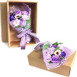 Bouquet de fleurs en savon Violet dans sa boite bain romantique