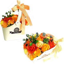 Bouquet de fleurs de savon Orange avec panier pour un bain romantique