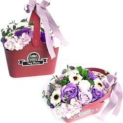 Bouquet de fleurs de savon Lilas avec panier pour bain romantique