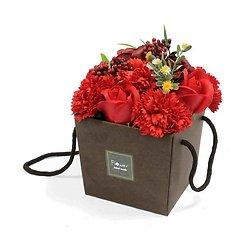 Bouquet fleurs en savon Rouge avec roses et oeillets sac cadeau