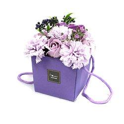 Bouquet fleurs en savon Lavande avec roses et oeillets sac cadeau