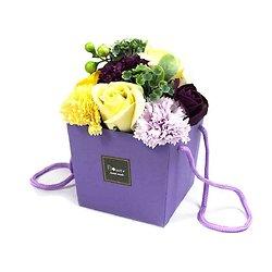 Bouquet de fleurs savon Jardin Violet avec roses et oeillets cadeau