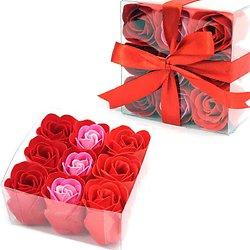 Rose en savon Rouge avec coloris 3 tons pour un bain romantique