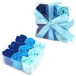 Rose en savon Bleu pour un bain romantique coloris 3 tons