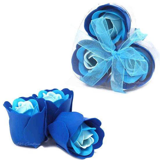 Rose de Savon Bleu pour le bain lot de 3 dans une boite en Coeur