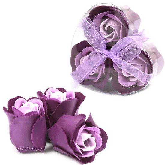 Rose de Savon Lavande pour le bain lot de 3 dans une boite en Coeur