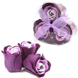Rose de Savon Lavande pour le bain lot de 3 dans boite en Coeur