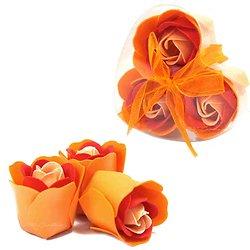 Rose de Savon Pêche pour le bain lot de 3 dans boite en Coeur