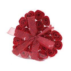 Rose de Savon Rouge pour le bain lot de 24 dans boite Coeur avec noeud