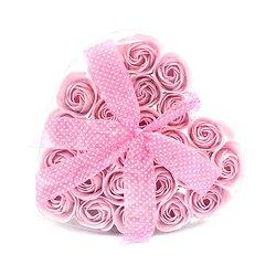Rose de Savon Rose pour le bain lot de 24 dans boite Coeur avec noeud