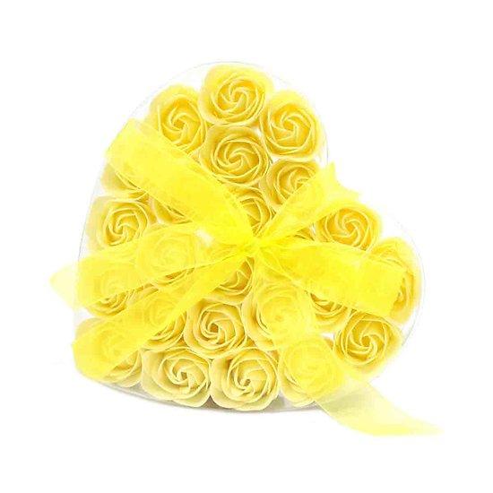 Rose de Savon Jaune pour le bain lot de 24 dans boite Coeur avec noeud