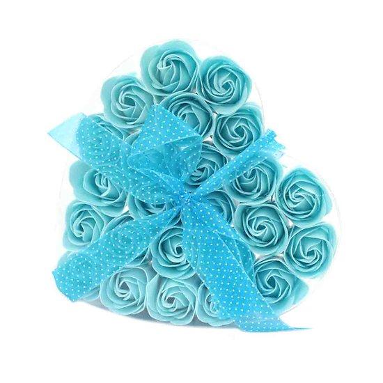 Rose de Savon Bleu pour le bain lot de 24 dans boite Coeur avec noeud