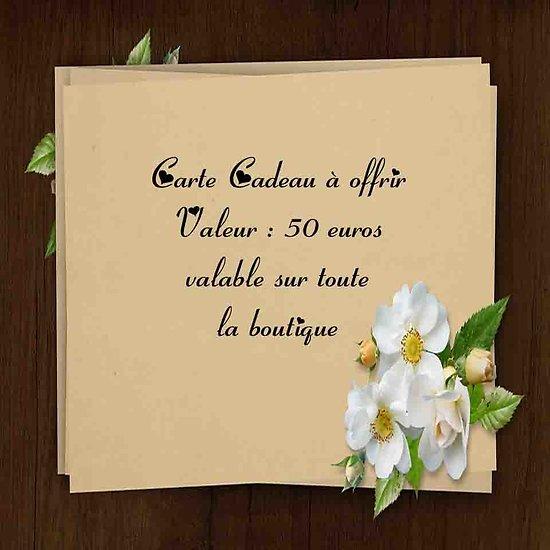 Chèque Cadeau à offrir valeur de 50 euros valable sur la boutique