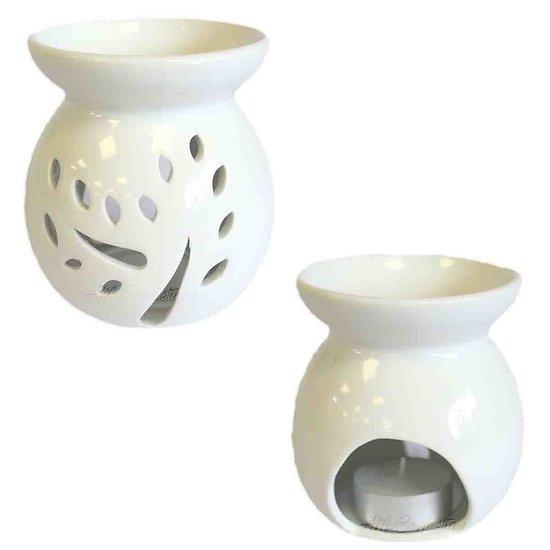 Brûleur à huile céramique Blanc Arbres Large pour cire parfumée