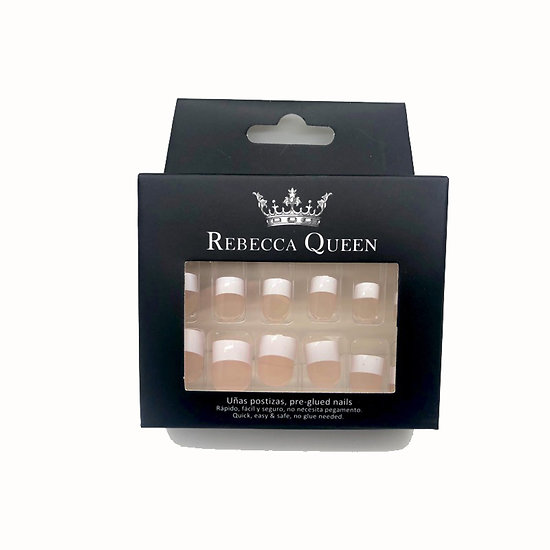 Faux ongles Rose French blanche autocollant kit x12 Rebecca Queen