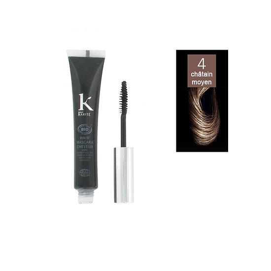 Mascara cheveux Châtain moyen 04 camoufle cheveux blancs K pour Karité