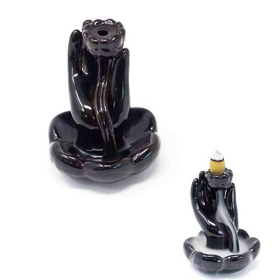 Fontaine à Encens Main et Fleur de Lotus céramique back flow