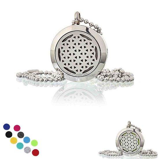 Collier Aromathérapie Fleur de vie médaillon bijoux de 25mm pour huile