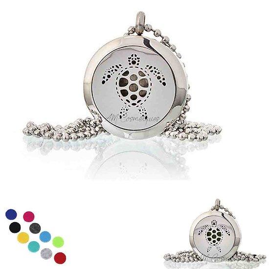 Collier Aromathérapie Tortue médaillon bijoux de 25mm pour huile