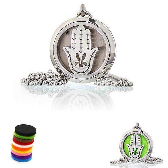Collier Aromathérapie Main de Fatma médaillon bijoux 30mm pour huile