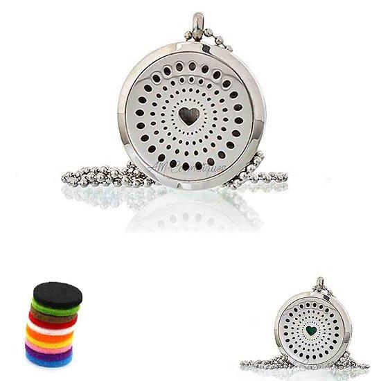 Collier Aromathérapie Coeur Diamant médaillon bijoux 30mm pour huile
