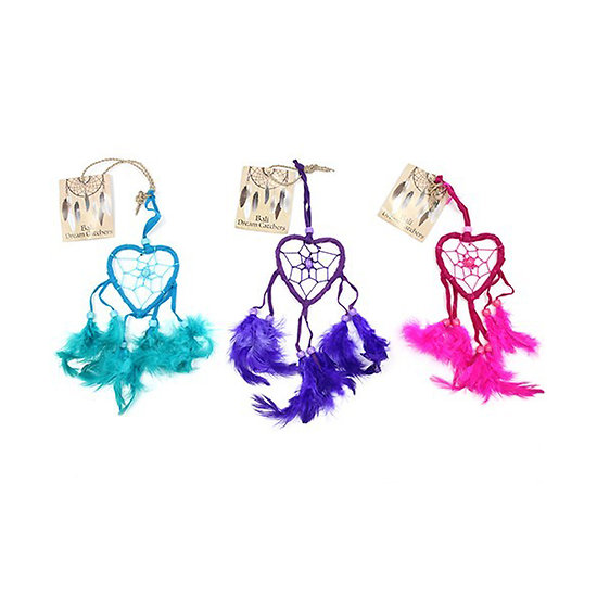Capteur de rêve conçu à la main Petit Coeur Turquoise, Rose ou Violet
