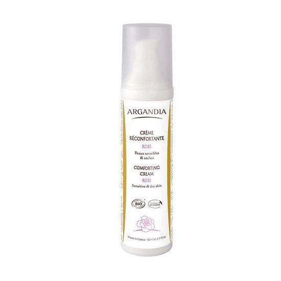 Crème Réconfortante Rose Bio en 50ml peaux sèches & sensibles Argandia