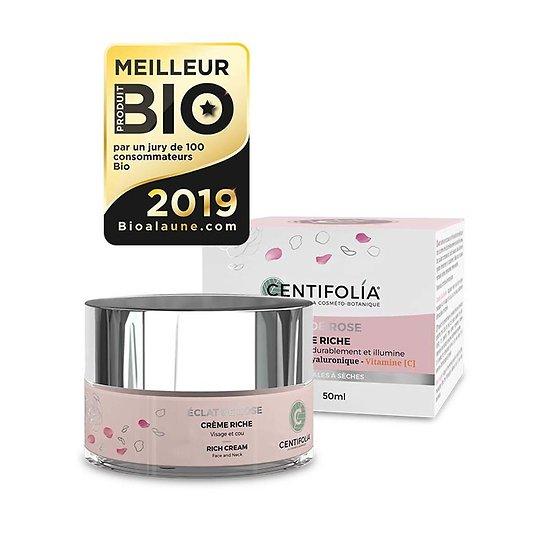 Crème riche Éclat de Rose visage Bio en 50ml peau hydratée Centifolia