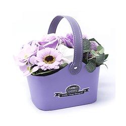 Bouquet fleurs en savon Lavande avec roses, tournesol en panier