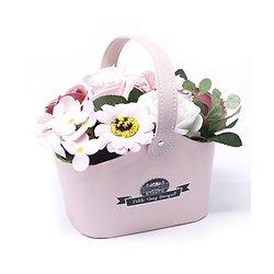 Bouquet fleurs en savon Rose avec des Roses, tournesol dans un panier