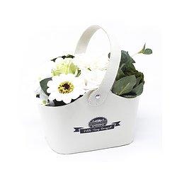 Bouquet fleurs en savon Vert avec des Roses, tournesol dans un panier