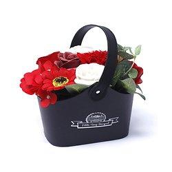 Bouquet fleurs en savon Rouge avec roses, tournesol en panier