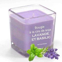 Bougie Lavande et Basilic avec cire de soja et huiles essentielles