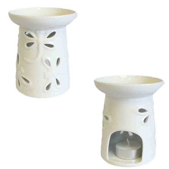 Brûleur à huile céramique Blanc Libellules modèle Large cire parfumée