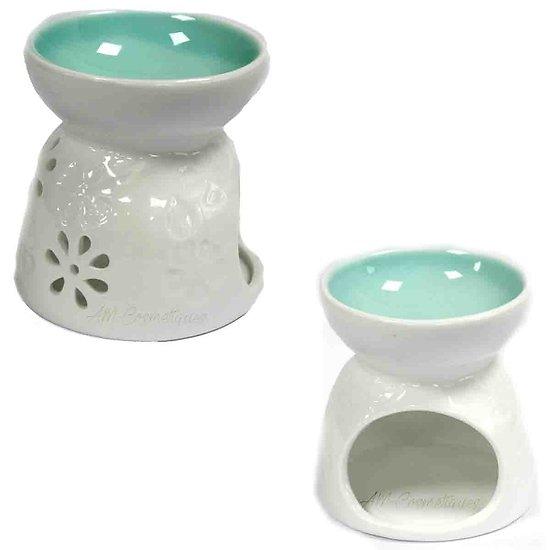 Brûleur à huile Fleurs & Sarcelle céramique blanche pour cire parfumée