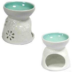 Brûleur à huile Fleurs et Sarcelle céramique blanche cire parfumée