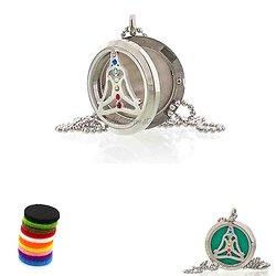 Collier Aromathérapie Yoga Chakra médaillon en 30mm pour huile